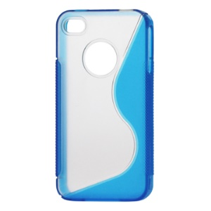 S-Shape PC &amp; TPU Hybrid Case for iPhone 4 4S - Blue
