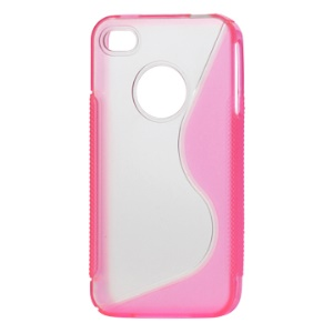 S-Shape PC &amp; TPU Protective Case for iPhone 4 4S - Pink