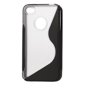 S-Shape PC & TPU Case for iPhone 4 4S - Black