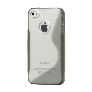 S-Shape PC & TPU Case Cover for iPhone 4 4S - Grey
