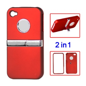 Snap-on Frosted Hard Stand Case for iPhone 4 4S - Red