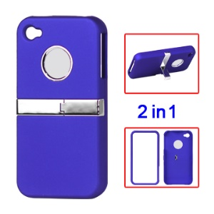 Snap-on Frosted Hard Rubberized Stand Case for iPhone 4 4S - Blue