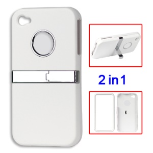 iPhone 4 4S Detachable Frosted Hard Stand Case - White