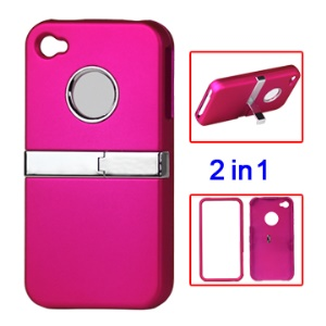 Snap-on Frosted Stand Hard Case for iPhone 4 4S - Rose