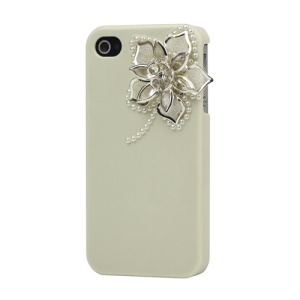 Sparkling Flowers Pearl Diamante Case Cover for iPhone 4 4S - Beige