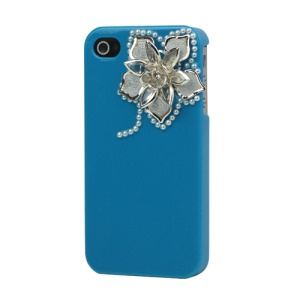 Sparkling Flowers Pearl Diamante Case Cover for iPhone 4 4S - Blue