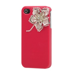 Sparkling Flowers Pearl Diamante Case Cover for iPhone 4 4S - Rose