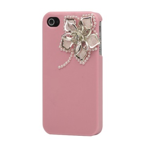 Sparkling Flowers Pearl Diamante Case Cover for iPhone 4 4S - Pink