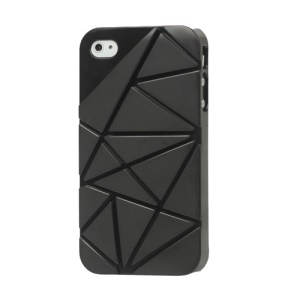 Premium 3D Hard Plastic Case Cover for iPhone 4 4S - Black