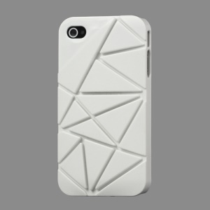 Premium 3D Hard Plastic Case Cover for iPhone 4 4S - White