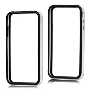 TPU & Plastic Hybrid Bumper Frame Case for iPhone 4 4S - Black & White