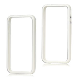 TPU & Plastic Hybrid Bumper Frame Case for iPhone 4 4S - White
