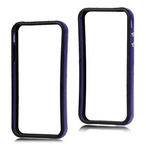 TPU & Plastic Hybrid Bumper Frame Case for iPhone 4 4S - Black & Dark Blue