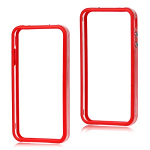 TPU & Plastic Hybrid Bumper Frame Case for iPhone 4 4S - Red & Transparent