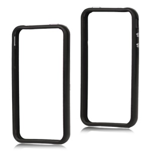 TPU & Plastic Hybrid Bumper Frame Case for iPhone 4 4S - Black