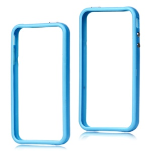TPU & Plastic Hybrid Bumper Frame Case for iPhone 4 4S - Blue