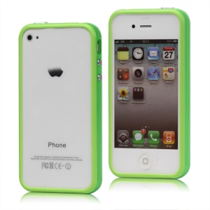 TPU & Plastic Hybrid Bumper Frame Case for iPhone 4 4S - Green