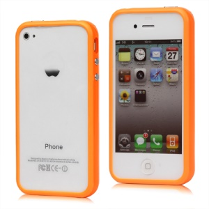 TPU & Plastic Hybrid Bumper Frame Case for iPhone 4 4S - Orange
