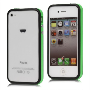TPU & Plastic Hybrid Bumper Frame Case for iPhone 4 4S - Black & Green
