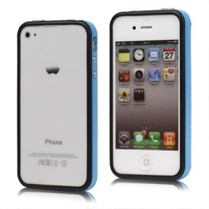 TPU & Plastic Hybrid Bumper Frame Case for iPhone 4 4S - Black & Blue