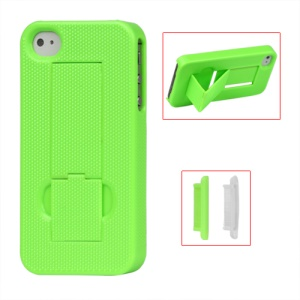 Textured Hard Stand Case for iPhone 4 4S - Green