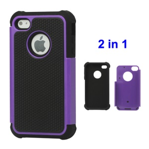 Grainy Defender Case Cover for iPhone 4 4S - Purple