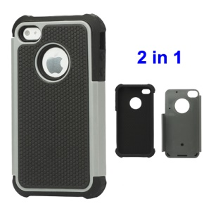 Grainy Defender Case Cover for iPhone 4 4S - Grey