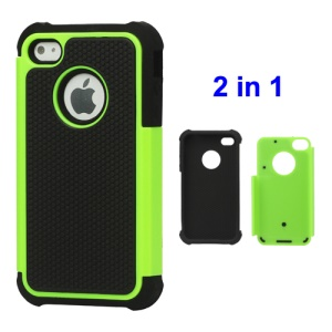 Grainy Defender Case Cover for iPhone 4 4S - Green