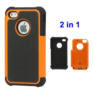 Grainy Defender Case Cover for iPhone 4 4S - Orange