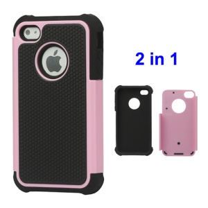Grainy Defender Case Cover for iPhone 4 4S - Pink