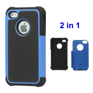 Grainy Defender Case Cover for iPhone 4 4S - Blue