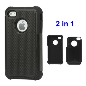 Grainy Defender Case Cover for iPhone 4 4S - Black