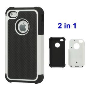 Grainy Defender Case Cover for iPhone 4 4S - White