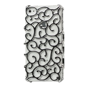 Luxury Electroplating Hollow Pattern PC Hard Case for iPhone 4 4S - Silver