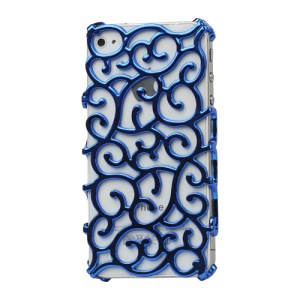 Luxury Electroplating Hollow Pattern PC Hard Case for iPhone 4 4S - Blue