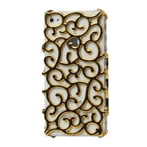 Luxury Electroplating Hollow Pattern PC Hard Case for iPhone 4 4S - Gold