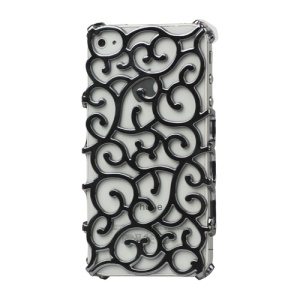 Luxury Electroplating Hollow Pattern PC Hard Case for iPhone 4 4S - Grey