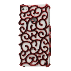 Luxury Electroplating Hollow Pattern PC Hard Case for iPhone 4 4S - Red