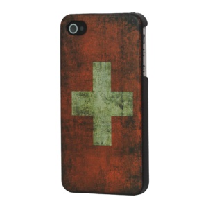 Antique Switzerland Flag Hard Case Cover for iPhone 4 4S