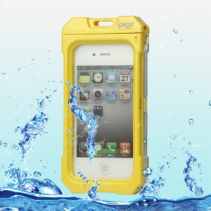 Waterproof Hard Plastic Case Cover for iPhone 4 4S - Yellow