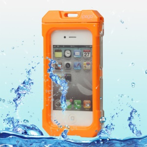 Waterproof Hard Plastic Case Cover for iPhone 4 4S - Orange