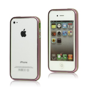 Snap-on Electroplating Hard Plastic Bumper Case for iPhone 4 4S - Pink