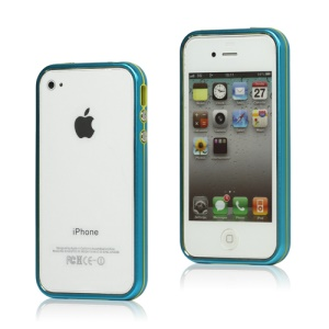 Snap-on Electroplating Hard Plastic Bumper Case for iPhone 4 4S - Baby Blue