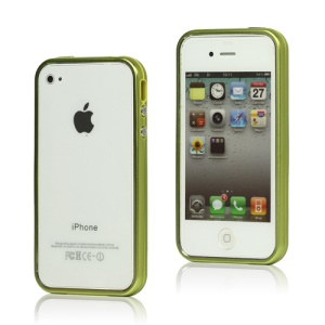 Snap-on Electroplating Hard Plastic Bumper Case for iPhone 4 4S - Green