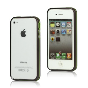Snap-on Electroplating Hard Plastic Bumper Case for iPhone 4 4S - Coffee