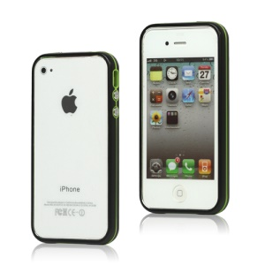 Snap-on Electroplating Hard Plastic Bumper Case for iPhone 4 4S - Black