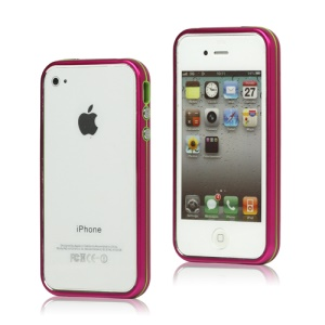 Snap-on Electroplating Hard Plastic Bumper Case for iPhone 4 4S - Rose