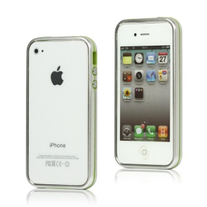 Snap-on Electroplating Hard Plastic Bumper Case for iPhone 4 4S - Silver