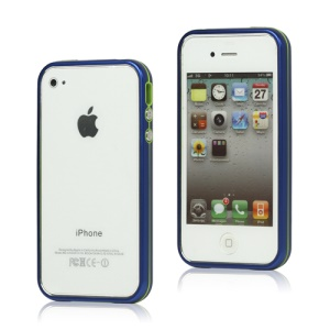 Snap-on Electroplating Hard Plastic Bumper Case for iPhone 4 4S - Dark Blue