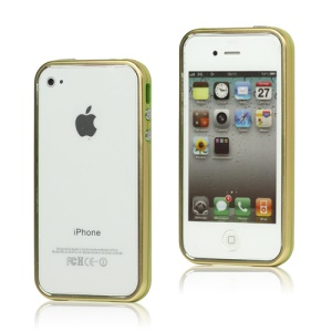Snap-on Electroplating Hard Plastic Bumper Case for iPhone 4 4S - Gold